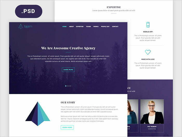 Creative Website Designs Psd Free Download Templates 2018
