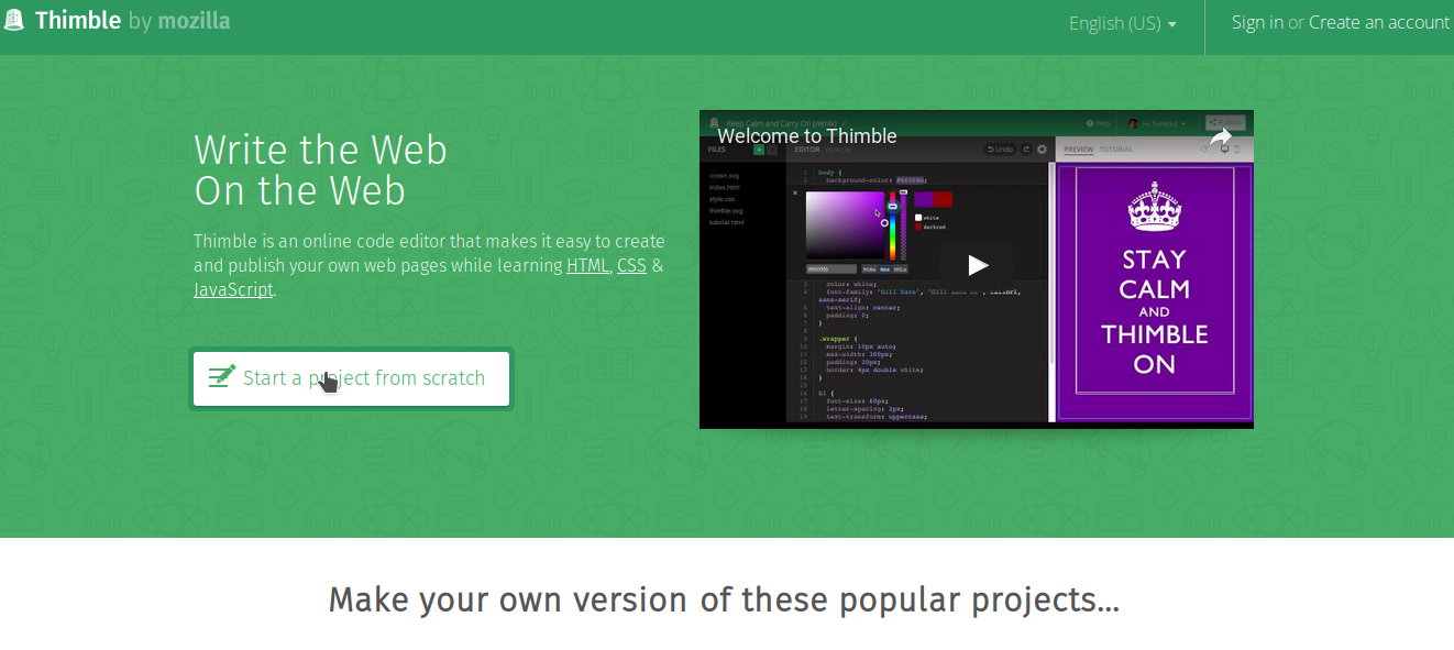 Webmaster.Kitchen-Mozilla Thimble