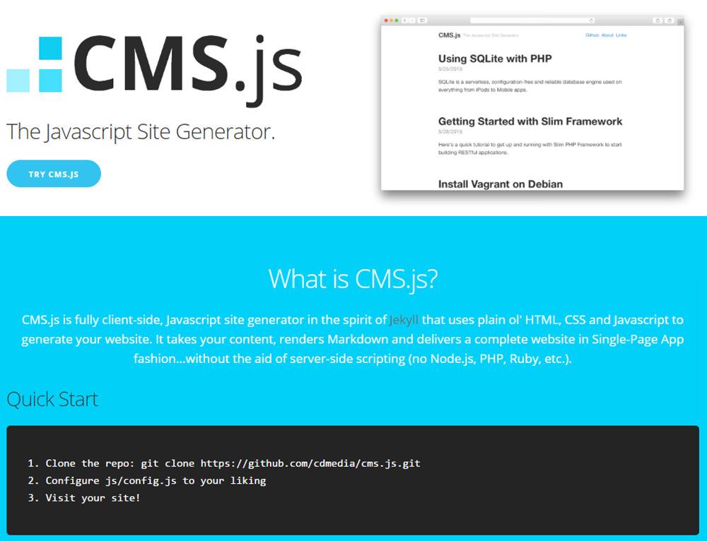 webmaster-kitchen-cms-js-homepage-screenshot