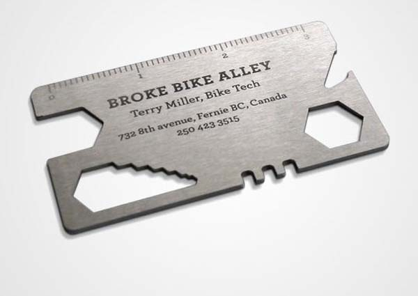Bisiklet tamircisine ait bir kartvizit örneği