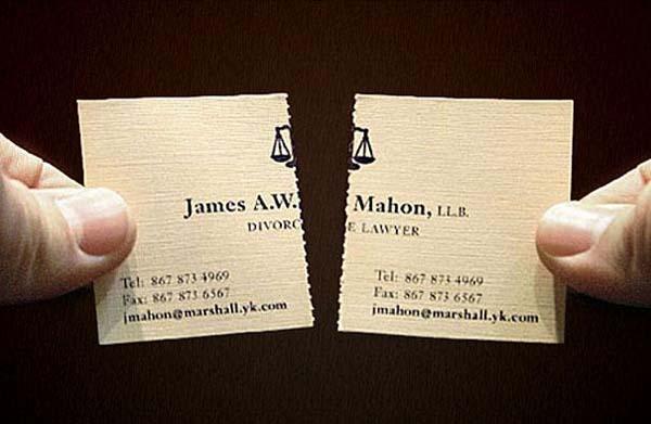 Avukata ait bir kartvizit örneği